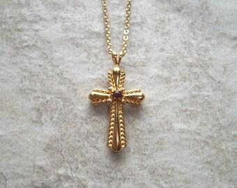 "Vintage Signed Avon Red Rhinestone Cross Necklace,gold tone,18"" chain,1 1/4"" cross pendant,religious,catholic,spiritual,petite"