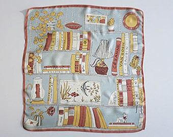 Original 1950s neckerchief with book shelf motif silk