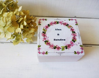 Personalized box wedding ring box Wooden box for ring Wedding box Flower wedding decor ring pillow box Engagement box Ring Bearer Bridal box