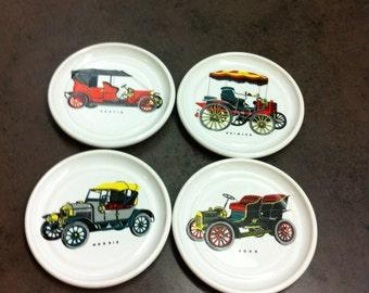 Vintage Drink Coasters - White Porcelain - 4 Car Decorated Coasters - Man Cave Decor - Bar Accessory