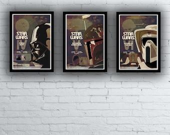 Star Wars Trilogy Film / Movie Posters / Prints Set Episodes 4 5 6