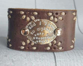 Brown Stitched Leather Cuff - What a Wonderful World - Brown Leather Cuff - Stitched Brown Leather Cuff - Crystal Rivet Leather Cuff
