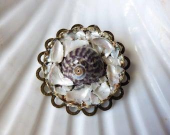 Irish sea shell brooch, mother of pearl sea shell brooch, mosaic shell brooch