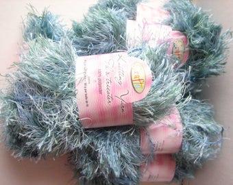 Aqua blue yarn (7 balls), eyelash yarn, fancy furry yarn, furry polyester, polyester yarn, turquoise furry, destash yarn