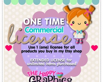 One Time Commercial License - Use 1 (one) license for all products you buy in my shop - Extended license for unlimited items purchased