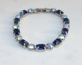Weiss Blue Rhinestone Bracelet, Weiss Bracelet, Vintage Weiss Bracelet, Weiss Jewelry,  Blue Bracelet