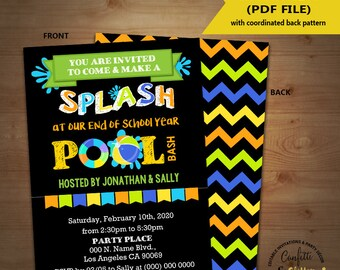 End of school splash pool party bash invitation Back to school pool party invite chalkboard Instant Download YOU EDIT TEXT & print 5834