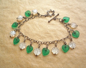 White glass flower and leaves bracelet with handmade sterling silver chain