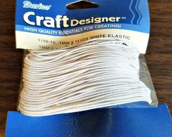 Darice Craft Designer White Elastic / 1mm x 15 Yards / Ready To Ship