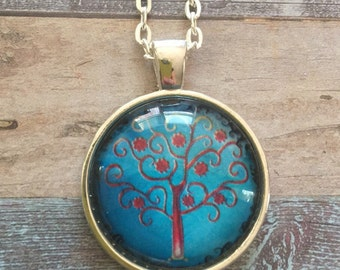 Tree of life : Glass Dome Necklace, Pendant or Keychain Key Ring. Gift Present metal round art photo jewelry by Bohemian Marvels