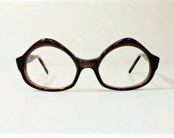 vintage 1960s swank brown tortoise cat eyeglass frames nos vintage large size glasses frames new old stock funky hipster eyeglasses