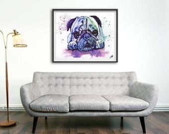 Watercolor pug print