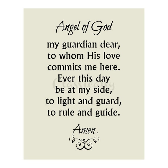 Angel of God Prayer Print in 5x7 or 8x10 of Catholic Guardian Angel Prayer