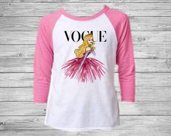 Girls Disney Vogue Sleeping Beauty Raglan Tee - Girls Disney Vogue Shirt - Disney Princess Raglan Shirt - Sleeping Beauty Shirt