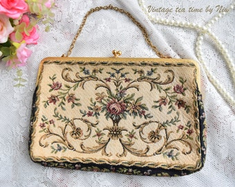 Handbag vintage floral bag embroidered handbag flower bag decorated