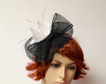 Black/white sinamay/feather fascinator, Kate Middleton Style Fascinator , Kentucky Derby Fascinator, English Royal,Wedding fascinator