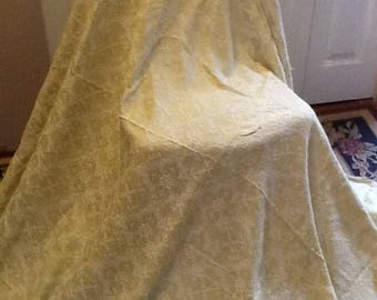"""Vintage 60's upholstery fabric pale green brocade in great shape - 80"""" wide by 92"""" ( 2.6 yards) - shabby chic , retro, 60s eras fabric"""