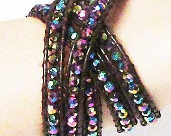 Multi Color Crystal Leather Bracelet Necklace