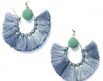 Stunning Icy Blue Sandbar Fringe Statement Earrings
