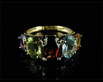 Garnet Peridot Aquamarine Amethyst Gold Ring 2.50ct Multi Gemstone