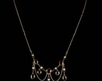 Antique Victorian Garnet Pearl Necklace 18ct Gold Lavaliere