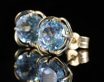 Aquamarine Gold Stud Earrings 9ct Gold