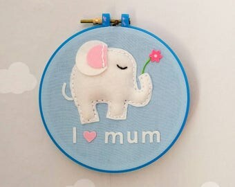 "Wall decoration ""i love mum-baby elephant"" 100% wool felt"