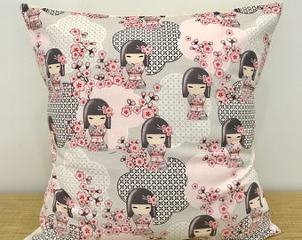 """Kimmidoll Fabric with Cherry Blossoms Cushion Cover Throw Pillow Case. 16"""" (41cm). Cushion Australia. Gift for kids. Gift for girl"""