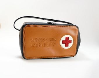 Vintage Soviet medicine kit car first aid kit Brown leather bag Vintage medicine USSR kit for auto Medical supplies Medicine storage VAZ GAZ