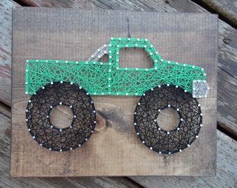 Monster truck string art, string art monster truck, monster truck art, boys room decor, truck string art, string art truck, boys room art