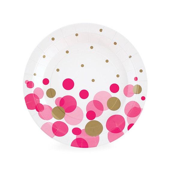 Il_570xn  sc 1 st  Catch My Party & Dessert Plates | Dark Pink \u0026 Gold Confetti Cake Plates 7\