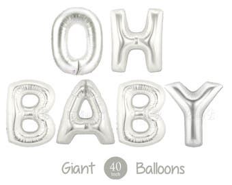 """Giant OH BABY Balloons -  40"""" Inch Silver Mylar Balloons in Letters O-H-B-A-B-Y  - Metallic Silver - Baby Shower Balloons, Baby Shower Decor"""