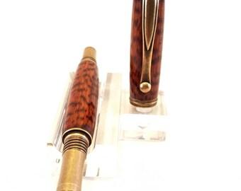 Antique Brass Snake Wood Rollerball Pen