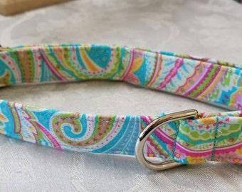 Personalized/Monogrammed Gorgeous Aqua & Pink Paisley Lilly Pulitzer inspired fabric dog collar