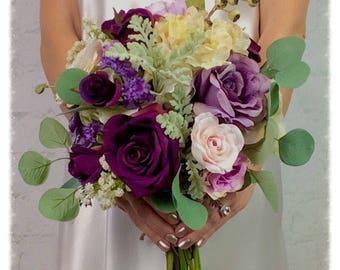 Wedding Bouquet, Bridal Bouquet, Silk Bouquet, Plum Bouquet, Boutonniere, Corsage,