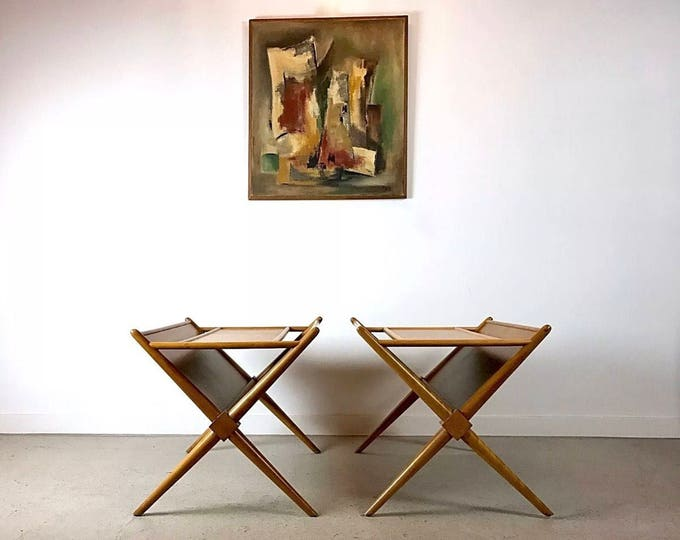 SOLD Mid Century Modern Side Tables With Magazine Rack Designed By Robjohn-Gibbings For Widdicomb