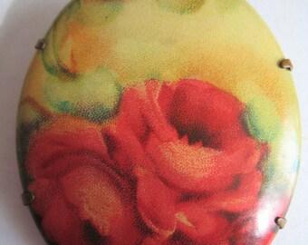 Vintage Plastic Flower Picture Pin (2)