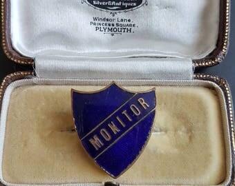 Vintage school shield Prefect MONITER blue enamel badge pin