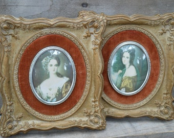 Set of 2 Cameo Creation Frames, Lady Hamilton and Lady Dower, Thomas Lawrence, Antique, Vintage