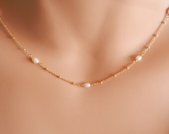 Gold pearl necklace gold dainty pearl choker necklace gold rosary choker gold chain necklace dainty gold choker gold chain choker necklace