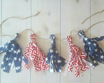 FREE SHIPPING/ 9 inch Fabric Tassel Garland/Patriotic Tassel Garland/Custom Fabric Garland/ Tassels/ Red white and blue garland