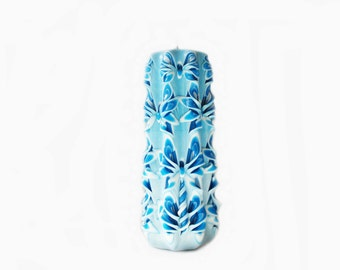 Carved candle-Blue Blue-carved candles as a gift for the new year