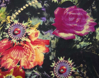 """Decorative Fabric, Floral Print, Dressmaking Fabric, Sewing Crafts, Indian Fabric, 44"""" Inch Cotton Fabric By The Yard ZBC7566A"""