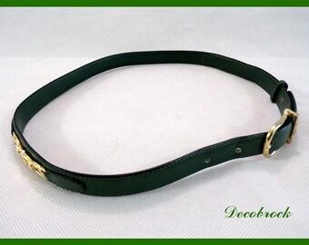 Authentic belt vintage leather green brand CELINE Paris logo vintage France vintagefr mark couture paris