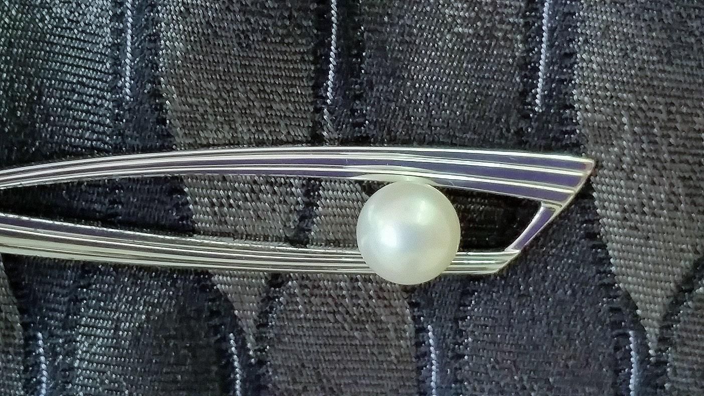 Mikimoto Tie Clip Modernist Sterling Silver Double Bar