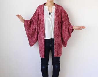 Japanese kimono, Haori, tie dye kimono, silk robe, festival top /1585