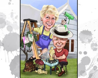 Custom Caricature (2 people)- Completely Personalized gift for her- Great birthday or mother's day gift for those hard to buy for!