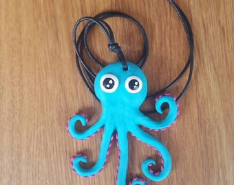 Octopus blue & pink pendant necklace