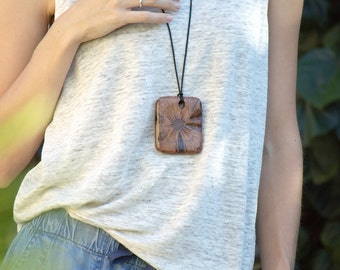 Long boho necklace-wood pendant, statement necklace, unique necklace, long wooden necklace, rustic pendant, earthy necklace, australian gift