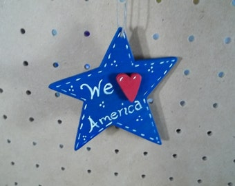 We Love America Star Ornament